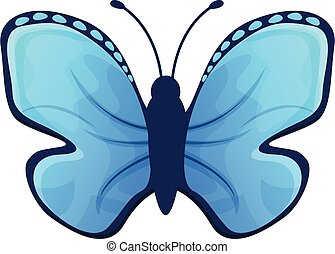 Sky blue butterfly icon, cartoon style