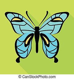 Sky blue butterfly icon, flat style