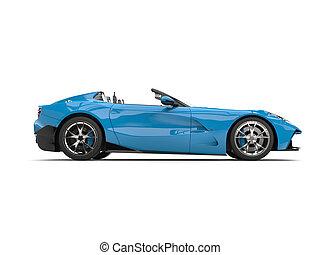 Sky blue modern convertible super sports car - side view