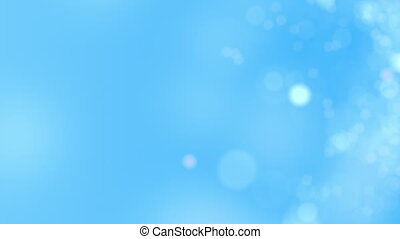 Sky blue motion background. Abstract glowing bokeh circles or sparks. 4K seamless loop animation