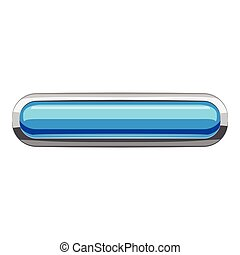 Sky blue rectangular button icon, cartoon style
