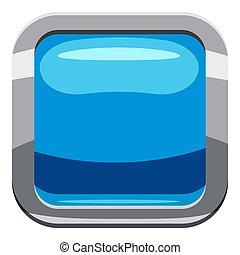 Sky blue square button icon, cartoon style