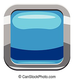 Sky blue square button icon, cartoon style