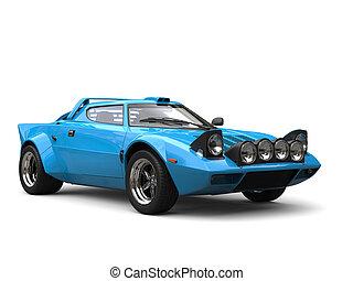 Sky blue vintage race car