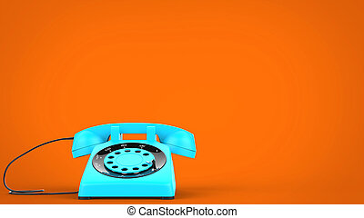 Sky blue vintage telephone - 3D Illustration