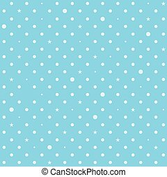 Sky Blue White Star Polka Dots Background