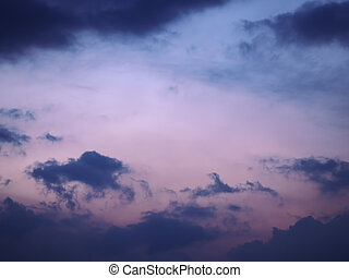 Sky blurred background blue and pink clouds