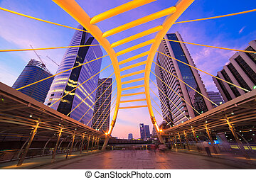Sky bridge connection to Bangkok Rapid Transit Station,...