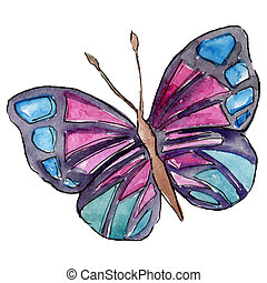 Sky butterfly in a wildlife by watercolor style background. Watercolour isolated butterfly illustration element.