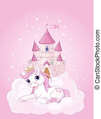 Sky Castle and Unicorn - Illustration of the pink fairy...