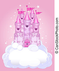 Illustration of a Fairy Tale princess castle in the sky