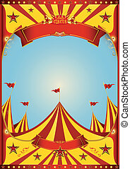 Sky circus big top - A circus vintage poster with a grunge...