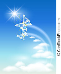 Symbol of ecology clean air - Sky, clouds and butterfly. ...