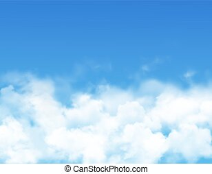 Sky clouds or fog vector design of blue heaven with realistic white mist, steam or fluffy cumulus clouds. Cloudy sky background or sunny weather cloudscape of climate, environment and nature themes
