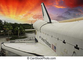 Sky colors over Space Shuttle, U.S.A.