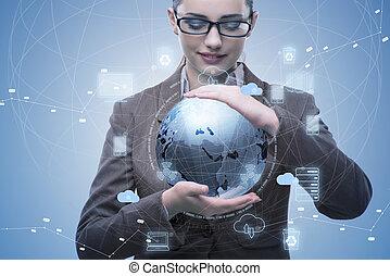 sky, computing, begreb, ind, teknologi, collage