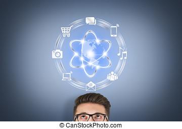 sky, computing, begreb, på, berøring skærm