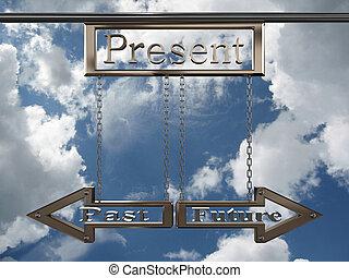 sky., contro, futuro, passato, puntatore, presente, 3d