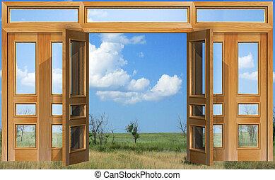 sky, dörr, öppnat