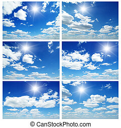 Sky daylight collection. Natural sky composition. Collage
