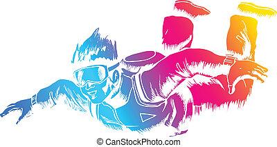 Sky Diver - Sketch illustration of a sky diver