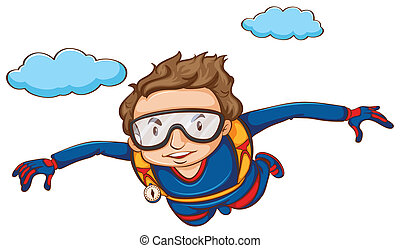 Sky diving - Illustration of a man sky diving
