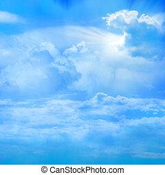 sky - glow sun on sky with cloud