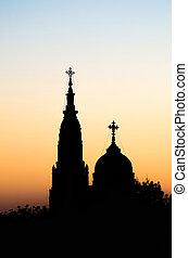 sky., dwa, przeciw, sylwetka, zachód słońca, kościół