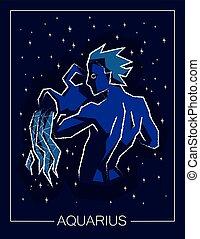 sky., estrelado, aquário, sinal, noturna, signos