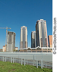 sky., extensión, tres, casas, construcción, alto, distancia.