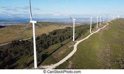 sky., ferme, soutenable, renouvelable, générer, bleu, ...
