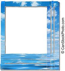 sky frame, paper-stripes