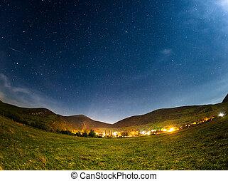 Sky full of stars. Beautiful summer night. Crimea Mountains