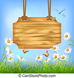 Sky Green Grass Flowers Wood Board?