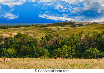 sky green landscape forest nature hill view summer
