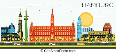 sky., hambourg, bâtiments colorent, horizon, bleu