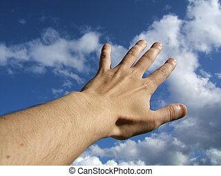 sky, hand