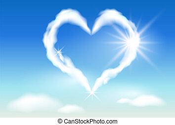 sky, hjerte, og, solskin