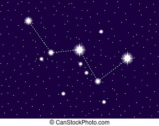 sky., hvězdnatý, ilustrace, cassiopeia, vektor, večer, constellation.