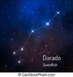 sky., hvězdnatý, ilustrace, vektor, večer, souhvězdí