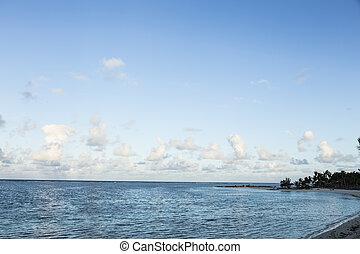 sky., ilha, nublado, mauritius, mar, sob