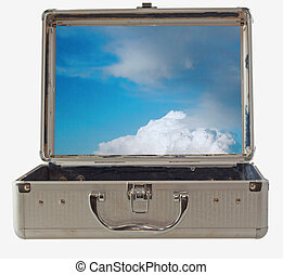 Blue and cloudy sky inside a metal case