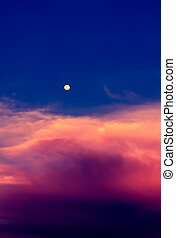 Sky in twilight time with moon