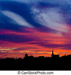 sky., kościół, zachód słońca, przeciw, pomarańcza