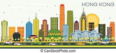 sky., kong, color, ciudad de edificios, hong, contorno, ...