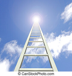 Sky Ladder - Image of a ladder reaching up towards a blue...
