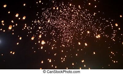 Sky lantern festival(yee peng lanna)in Chaing Mai, Thailand...