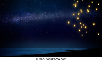 sky lantern flying over sea