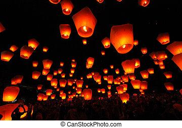 Sky Lantern, Ping Xi, Taiwan - Sky Lantern, Ping Xi Taiwan