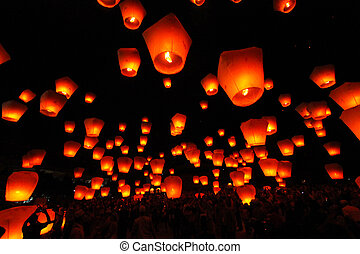 Sky Lantern, PingXi, Taiwan - Sky Lantern, PingXi Taiwan